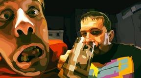 Painted schreckliche zwei Männer der betrunkenen Trinker vermindernd Stockbild