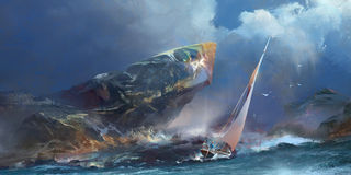 Painted seascape, the storm and a yacht royalty free illustration