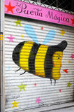 Painted security door, Barcelona Stock Images