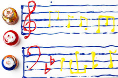 Painted sheet music Royalty Free Stock Images