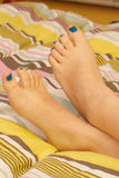Painted short toenails Stock Photos