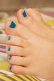 Painted short toenails Royalty Free Stock Photos