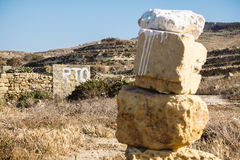Painted sign indicating supposedly private land in Malta, Gozo. Stock Photography