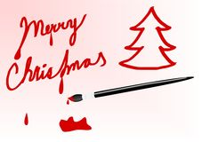 Painted sign merry christmas. Sign merry christmas with paint brush and red color Stock Photos