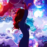 Painted silhouette of a dancing woman on the colorful dance floor Stock Photos