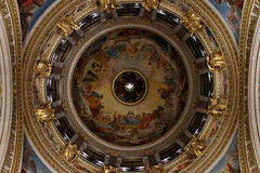 Painted and silvered dove in the main dome of St. Isaac`s Cathed Royalty Free Stock Image