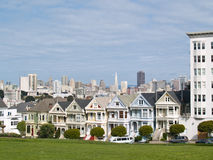 Painted Sisters houses. Famous landmarks, the Painted Sisters Victorian-style houses in San Francisco, California Royalty Free Stock Image