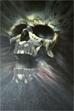 Painted skull. Artistic image of a skull made in mixed media Royalty Free Stock Images