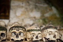 Painted Skulls in a Bone House. In Austria royalty free stock images