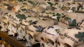 Painted Skulls in a Bone House Stock Photography