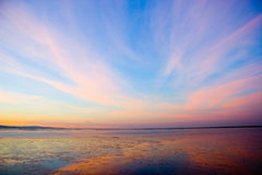 Painted sky. A magical sunset in rio Tejo, Portugal Stock Images