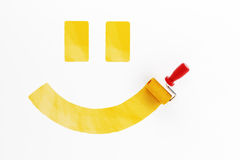 Painted smile. On the wall, 3d render Stock Images