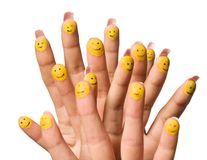 Painted Smilies on Fingertips Stock Photography