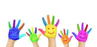 Painted smiling hands. Stock Photography