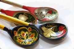 Painted souvenir spoons. Russian souvenir.Skill of a cutting on a tree and lists Stock Image