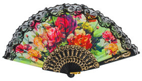 Painted spanish hand fan Royalty Free Stock Photography