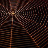 Painted spiderweb. Full frame symbolic picture with a painted spiderweb in dark back, orange illuminated Royalty Free Stock Photos
