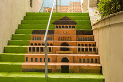 Painted stairs - Museum of the Romanian Peasant Stock Photography