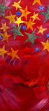 Painted Stars. Hand Painted Vertical Red poster or banner with colorful stars at top Stock Image
