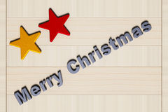 Painted stars, Merry Christmas and wooden board Stock Photos