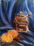 Painted still life with coffee mill and oranges on blue textile stock illustration
