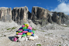 Painted stones on mountain pass Royalty Free Stock Images