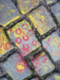 Painted stones pavement texture Royalty Free Stock Image