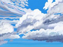 Painted style afternoon clouds. Painted style illustration of afternoon cumulus like clouds Royalty Free Stock Images