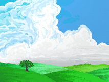 Painted Style Green Countryside Royalty Free Stock Photo