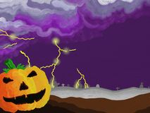 Painted Style Halloween Thunders Stock Photo