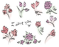 Painted stylized pink flower Stock Images