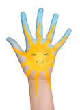 Painted sun on hand. Royalty Free Stock Photo
