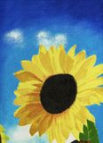 Painted sunflower. Close-up oil painting color image of one sunflower against blue sky and white clouds Royalty Free Stock Photo