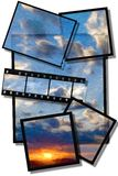 Painted sunset photo collage. Painted sunset composed with collage photos and negatives vector illustration