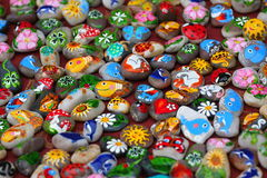 Painted symbols on the stones stock images