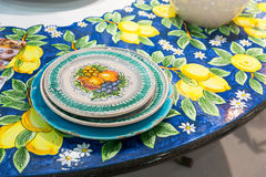Painted table set Stock Photos
