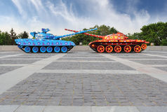 Painted tanks in Kiev Stock Photo