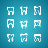 Painted teeth toothpaste icon set Royalty Free Stock Image