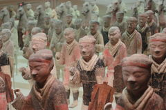 Painted Terra-cotta Infantry and Cavalry Royalty Free Stock Photo