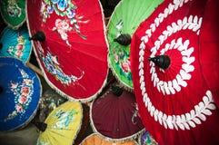 Painted Thai parasols. Traditional handmade Thai parasols in Chiang Mai, northern Thailand Royalty Free Stock Photography