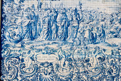 Painted tiles azulejos on the church wall in Porto Stock Photo
