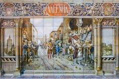 Painted tiles at Plaze de Espana in Seville Stock Photos