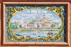 Painted tiles showing the Virgin of El Rocio. Spain Royalty Free Stock Photo