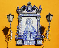 Painted tiles with Virgin Mary in Sevilla, Spain Royalty Free Stock Image