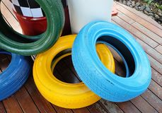 Painted Tires and Traffic Barrels for Automotive Safety Stock Photos