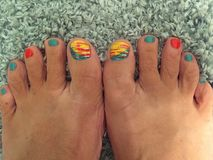 Painted toes. Arizona vacation ready Royalty Free Stock Image
