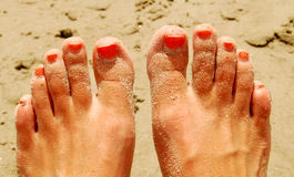 Painted Toes at Beach. Sandy feet with orange painted toes royalty free stock photography