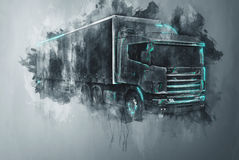 Painted tractor trailer truck in gray. Single abstract tractor trailer truck in gray paint strokes and flat dark background with rough painterly dripping effect Stock Photos