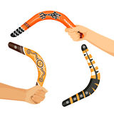 Painted traditional australian boomerang tools in hands vector Stock Images