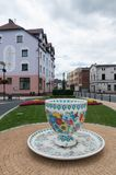 A huge gypsum cup on the square in Gogolin, Upper Silesia, near Opole royalty free stock photo
